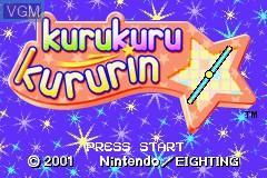 Title screen of the game Kurukuru Kururin on Nintendo GameBoy Advance