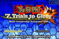 Title screen of the game Yu-Gi-Oh! - 7 Trials to Glory - World Championship Tournament 2005 on Nintendo GameBoy Advance