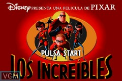 Title screen of the game Increibles, Los on Nintendo GameBoy Advance