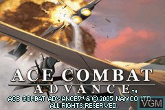 Title screen of the game Ace Combat Advance on Nintendo GameBoy Advance