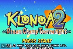 Title screen of the game Klonoa 2 - Dream Champ Tournament on Nintendo GameBoy Advance