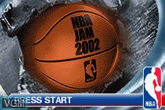 Title screen of the game NBA Jam 2002 on Nintendo GameBoy Advance