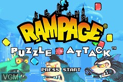 Title screen of the game Rampage Puzzle Attack on Nintendo GameBoy Advance