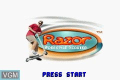 Title screen of the game Razor Freestyle Scooter on Nintendo GameBoy Advance