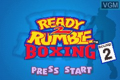 Title screen of the game Ready 2 Rumble Boxing - Round 2 on Nintendo GameBoy Advance