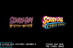 Title screen of the game 2 Games in 1 - Scooby-Doo! - Mystery Mayhem & Scooby-Doo! and the Cyber Chase on Nintendo GameBoy Advance