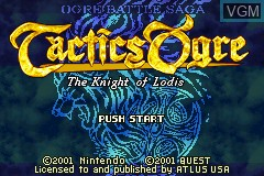 Title screen of the game Tactics Ogre - The Knight of Lodis on Nintendo GameBoy Advance