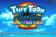 Title screen of the game Tiny Toon Adventures - Buster's Bad Dream on Nintendo GameBoy Advance