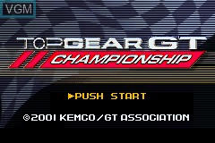 Title screen of the game Top Gear GT Championship on Nintendo GameBoy Advance