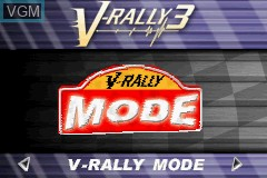 Title screen of the game V-Rally 3 on Nintendo GameBoy Advance