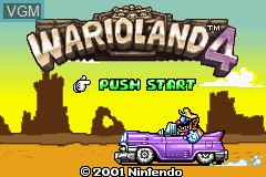 Title screen of the game Wario Land 4 on Nintendo GameBoy Advance