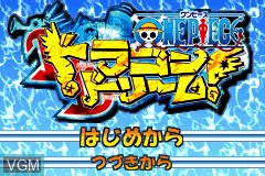 Title screen of the game One Piece - Dragon Dream on Nintendo GameBoy Advance