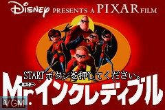Title screen of the game Mr. Incredible on Nintendo GameBoy Advance
