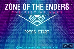 Title screen of the game Zone of the Enders - The Fist of Mars on Nintendo GameBoy Advance