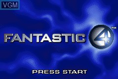 Title screen of the game Fantastic 4 on Nintendo GameBoy Advance