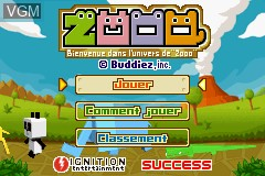 Title screen of the game Zooo - Action Puzzle Game on Nintendo GameBoy Advance