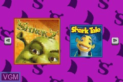Title screen of the game 2 in 1 Game Pack - Shrek 2 & Shark Tale on Nintendo GameBoy Advance