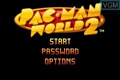Title screen of the game Pac-Man World 2 on Nintendo GameBoy Advance