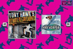 Title screen of the game 2 in 1 Game Pack - Tony Hawk's Underground + Kelly Slater's Pro Surfer on Nintendo GameBoy Advance