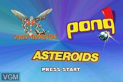 Title screen of the game 3 Games in One! - Yars' Revenge + Asteroids + Pong on Nintendo GameBoy Advance