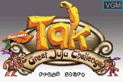 Title screen of the game Tak - The Great Juju Challenge on Nintendo GameBoy Advance