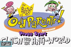 Title screen of the game Fairly OddParents!, The - Clash with the Anti-World on Nintendo GameBoy Advance