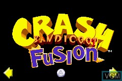 Title screen of the game 2 Games in 1 - Crash Bandicoot - Fusion & Spyro - Fusion on Nintendo GameBoy Advance