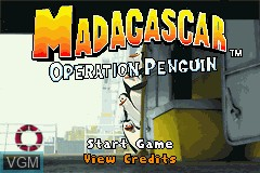 Title screen of the game Madagascar - Operation Penguin on Nintendo GameBoy Advance