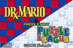 Title screen of the game 2 Games in 1 - Dr. Mario + Puzzle League on Nintendo GameBoy Advance