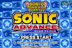 Title screen of the game 2 Games in 1 - Sonic Advance + Sonic Pinball Party on Nintendo GameBoy Advance