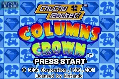 Title screen of the game 2 Games in 1 - Columns Crown + ChuChu Rocket! on Nintendo GameBoy Advance