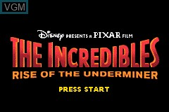 Title screen of the game Incredibles, The - Rise of the Underminer on Nintendo GameBoy Advance