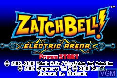 Title screen of the game Zatchbell! - Electric Arena on Nintendo GameBoy Advance