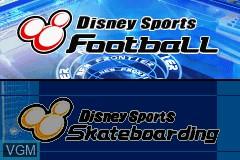 Title screen of the game 2 Disney Games - Disney Sports - Football + Disney Sports - Skateboarding on Nintendo GameBoy Advance