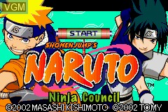 Title screen of the game Naruto - Ninja Council on Nintendo GameBoy Advance