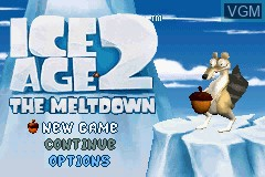 Title screen of the game Ice Age 2 - The Meltdown on Nintendo GameBoy Advance
