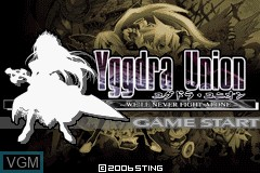 Title screen of the game Yggdra Union on Nintendo GameBoy Advance