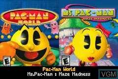 Title screen of the game 2 Great Games! - Pac-Man World + Ms. Pac-Man - Maze Madness on Nintendo GameBoy Advance