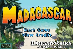 Title screen of the game Madagascar on Nintendo GameBoy Advance