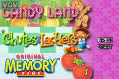 Title screen of the game 3 Game Pack! - Candy Land + Chutes and Ladders + Original Memory Game on Nintendo GameBoy Advance