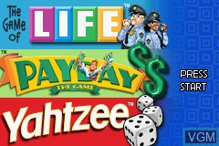 Title screen of the game 3 Game Pack! - The Game of Life + Payday + Yahtzee on Nintendo GameBoy Advance