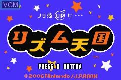 Title screen of the game Rhythm Tengoku on Nintendo GameBoy Advance