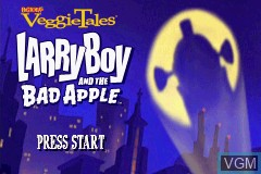 Title screen of the game VeggieTales - LarryBoy and the Bad Apple on Nintendo GameBoy Advance