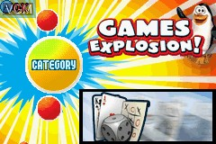 Title screen of the game Games Explosion on Nintendo GameBoy Advance