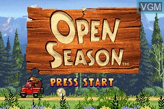Title screen of the game Open Season on Nintendo GameBoy Advance