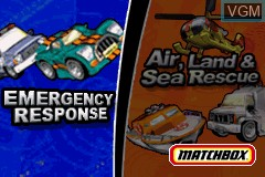 Title screen of the game 2 Game Pack! - Matchbox Missions - Emergency Response & Air, Land and Sea Rescue on Nintendo GameBoy Advance