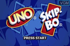 Title screen of the game 2 Game Pack! - Uno & Skip-Bo on Nintendo GameBoy Advance