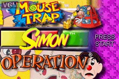Title screen of the game 3 Game Pack! - Mouse Trap + Simon + Operation on Nintendo GameBoy Advance