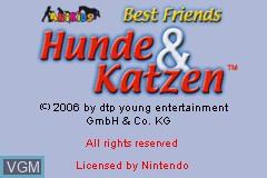 Title screen of the game Best Friends - Hunde & Katzen on Nintendo GameBoy Advance