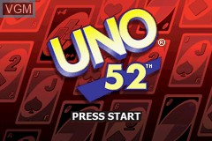 Title screen of the game Uno 52 on Nintendo GameBoy Advance